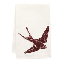 "artgoodies - Organic Swallow Tea Towel - This high quality 100% certified organic cotton tea towel was custom made just for artgoodies! Hand printed with one of my original linocut block print images it measures 20""x28"" and comes wrapped in a green ribbon made from 100% recycled plastic bottles! Nice and absorbent for drying dishes, looks great when company is over, and makes a great housewarming gift!"