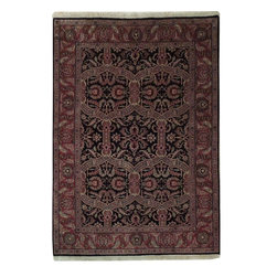 Harooni - Handmade Fine 10/10 Quality Home Decor Rug Classic 5X7 Tradional Carpet - This is 100% Hand Knotted Black 5 ft. x 7 ft. Traditional Rug. It is not machine made, nor hand-tufted, it is authentic hand knotted 5 ft. x 7 ft. Rug, imported from India. Please refer to the last picture (the back of the Rug), which shows the authenticity of the weave. This Wool Traditional reflects the current trend for handmade Rug with a soft hand feel. Exact size of this is 5 ft. x 7 ft. in Perfect condition. This Traditional collection Rug takes traditional designs and re-invents them in a palette of updated, highly livable colors with predominant Black field color and Red border color, with the following accent colors: black, burgundy, green, beige. This Rug was hand knotted by skillful weavers from India. You'll marvel at the details and artistry displayed in this art work and you'll love the soft feel of it under your feet. Make a soft impression in your room with this Traditional Rug in Black. Incredibly durable and stylish, elegant 5 ft. x 7 ft. Traditional collection Rug is reflective of a more active lifestyle and invites the expansion of classics into your indoor living space. Fashion a look for your space that will be both flawless and stunningly sophisticated with this truly radiant 5 ft. x 7 ft. Wool Traditional Rug. Perfect for high-traffic areas, this Wool Traditional Rug require little maintenance and has a durable construction to assure longevity.