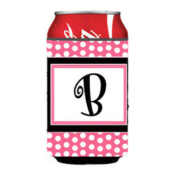 Caroline's Treasures - Letter B Initial Monogram - Pink Black Polka Dots Can or Bottle Hugger - Can Cooler - this collapsible koozie fits 12 ounce beverage.  Cans or bottles.  Permanently dyed and fade resistant. Will not crack or peel.  Great to show off your breed.  Match with one of the insulated coolers for a nice gift pack.