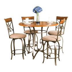 "Powell Furniture - Powell Furniture Hamilton 5 Piece Dining Set in Medium Cherry - Powell Furniture - Dining Sets - 697441M1 - Transitional 5-Piece Hamilton Gathering Set is perfect for dining and entertaining. The gathering table features an interesting curve and scroll designed bottom. The swivel counter stools feature a diamond shaped back slight curved legs and round upholstered swivel seat covered in a diamond patterned taupe/beige microfiber. Finished in ""Brushed faux medium cherry"" wood with ""matte pewter and bronze"" metal. Some assembly required."