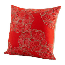 Cyan Design - Cyan Design Petunia Pillow X-32560 - Flowers lined in a rustic, twine-like fiber help to add a touch of farmhouse charm to this decorative Cyan Design pillow. From the Petunia Collection, this decorative pillow also features a vivid red backdrop and white stitch detailing, which gives it an elegant yet casual flair.
