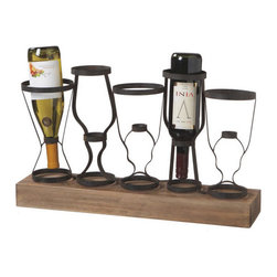 Modern Wood and Metal Wine Rack - For a charming departure from the ordinary, rest your favorite bottles in this unusual, upside-down wine rack of wood and metal. With space for five bottles, it keeps your wine safely on the shelf or countertop with the corks in good condition.