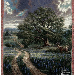 Manual - Thomas Kinkade Country Living Tapestry Throw Blanket 50 Inch x 60 Inch - This multicolored woven tapestry throw blanket is a wonderful addition to any home. Made of cotton, the blanket measures 50 inches wide, 60 inches long, and has approximately 1 1/2 inches of fringe around the border. The blanket features a depiction of Thomas Kinkade's 'Country Living'. Care instructions are to machine wash in cold water on a delicate cycle, tumble dry on low heat, wash with dark colors separately, and do not bleach. This comfy blanket makes a great gift for friends and family.