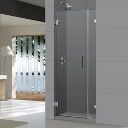 "BathAuthority LLC dba Dreamline - Radiance Frameless Hinged Shower Door, 36"" W x 72"" H, Chrome - The Radiance shower door shines with a sleek completely frameless glass design. Premium thick tempered glass combined with high quality solid brass hardware deliver the look of custom glass at an incredible value."