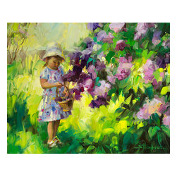 Steve Henderson Fine Art - Lilac Festival Artwork -- Original Oil Painting - Original oil painting on panel, 16 inches high by 20 inches wide. Gold-colored, wood frame included with purchase -- finished hanging size is 22 x 26. This is the original oil painting of a licensed work.