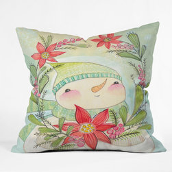 DENY Designs - DENY Designs Cori Dantini Snow Guy Throw Pillow - Wanna transform a serious room into a fun, inviting space? Looking to complete a room full of solids with a unique print? Need to add a pop of color to your dull, lackluster space? Accomplish all of the above with one simple, yet powerful home accessory we like to call the DENY Throw Pillow! Available in four sizes, our throw pillow is made from a medium weight woven polyester with a hidden zipper and removable bun insert.
