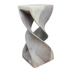 Kammika - Double Twist Stool Sust Wood 12x12x26 inch H w Livos Eco Friendly Agate Grey Oil - Our Sustainable Wood Double Twist Stool 12 x 12 inch x 26 inch Height with Eco Friendly, Natural Livos Agate Grey Oil Finish is a visual delight in any setting. It has graceful one-quarter turns that will add a sense of serenity and beauty to your home. Use it as an end table, display stand or stool. Carved from a single piece of sustainable Monkey Pod wood and finished with Livos Agate Grey Oil, each piece is a Work of Art, Functional Sustainable Wood Eco Friendly Art!  After each Sustainable Monkey Pod Wood (Acacia, Koa, Rain Tree grown for wood carving) stool is kiln dried, carved and sanded by Thai artisans, it is hand rubbed with Livos Agate Grey Oil, creating a highly water resistant and food safe finish. This natural oil is translucent so the wood grain detail is highlighted; this is then polished to a matte finish. The oil makes the wood turn to antique white look with a light grey patina finish. The light portions of wood turn to shades of beige and the dark wood lightens to shades of brown with a light transparent grey top coat over the white antique looking undercoat. There is No oily feel and cannot bleed into carpets. Made from the thick branches of the quick-growing Acacia tree in Thailand - where each branch is cut and carved to order (allowing the tree to continue growing). After each Eco Friendly Functional Art piece is carved, kiln dried, sanded, and hand rubbed with Livos eco friendly  natural oil, they are packaged with cartons from recycled cardboard with no plastic or other fillers. As this is a natural product, the color and grain of your piece will be completely unique, and may include small checks or cracks that occur when the wood is dried. Sizes are approximate. Products could have visible marks from tools used, patches from small repairs, knot holes, natural inclusions, and/or worm holes. There may be various separations or cracks on your piece wh