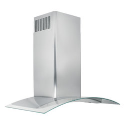 "GE Monogram glass canopy island hood - Nothing says ""high art"" like the Monogram glass-canopy hood. The sleek, sculptural appearance combines the durability of professional-grade stainless steel with the gentle fluidity of bowed, tempered glass."