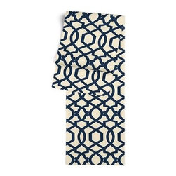 Blue Velvet Flocked Trellis Custom Table Runner - Get ready to dine in style with your new Simple Table Runner. With clean rolled edges and hundreds of fabrics to choose from, it's the perfect centerpiece to the well set table. We love it in this blue velvet flocked trellis in on cream cotton that adds subtle texture and warmth to your room.