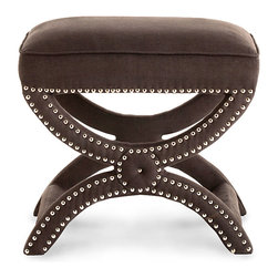 Tennyson Stool - Brown - Riveting, Striking and seductive, the Tennyson Stool has an allure all its own. Place one in your walk in closet, or perhaps in your living area for maximum adoration. This fully upholstered stool in rich brown boasts classic curves with its x-bench design and is accentuated with nickel studs that bring this small but mighty stool to life.