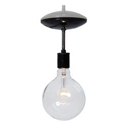 Industrial Light Electric - Semi Flush Mount Industrial Ceiling Light, Black, 60 Watt Globe Bulb - This Custom Made to Order Semi Flush Mount Industrial Ceiling Light comes with: