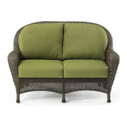 "Outdoor Great Room - Balsam Collection Loveseat in Spectrum Cilantro - ""Balsam"" Collection Loveseat with four piece cushion set in Spectrum Cilantro Sunbrella fabric and bark wicker frameHand-woven resin wicker."