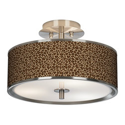 "Giclee Glow - Safari Leopard Giclee Glow 14"" Wide Ceiling Light - Warm light filters through the custom printed shade of this Giclee Glow energy efficient ceiling light. Define your style in any room with this sophisticated semi-flushmount ceiling fixture. The design features an exclusive pattern custom giclee printed on a translucent shade. This high-quality material allows warm light to shine through the shade, illuminating the pattern and creating a spectacular look. A white acrylic diffuser at the bottom prevents glare and provides even lighting. Energy efficient design includes CFL bulbs. This stylish ceiling light fixture is custom made to order. U.S. Patent # 7,347,593."