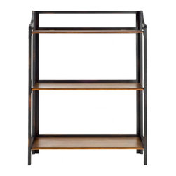 Safavieh - Nadia Bookshelf - Spare but full of life, the modest Nadia bookshelf has a masculine energy that doesn't overpower. Three shelves, in a contrasting honey-colored wood, and an open back and sides lend Nadia an airy appeal. Minor assembly required.