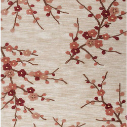 Jaipur - Brio Ivory and Red Rectangular: 5 Ft. x 7 Ft. 6 In. Rug - - A youthful spirit enlivens Esprit, a collection of contemporary rugs with joie de vivre! Punctuated by bold color and large-scale designs, this playful range packs a powerful design punch at a reasonable price  - Cleaning and Care: Polyester is dirt and stain resistant and will look great for a long time just by vacuuming regularly. Dries fast so deep steam/rug cleaning works great to release dirt from fiber. If spills occur blot immediately. Use rug/carpet cleaners that are safe on synthetic fibers. Use professional cleaning agents only. To vacuum use an attachment arm or suction only to remove dirt particles  - Backing Material: Cotton  - Companion Item: Rug Pad  - Pile Height: 0.37  - Construction: Hand-Tufted  - It is Sustainable  - Plush Pile  - Textured  - Easy Care  - Floral  - Transitional Jaipur - RUG100757