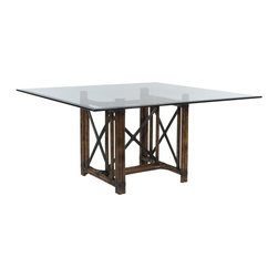 EuroLux Home - New Dining Table Dark Brown Rattan Square - Product Details