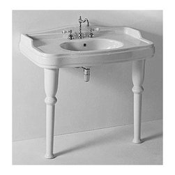 GSI - Classic-Style White Ceramic Bathroom Sink With Legs - Classic-style curved white ceramic sink with two legs. Washbasin comes with overflow and one hole or three hole pre-drilled options. Made in Italy by GSI. Bathroom sink on legs. Made out of white ceramic. Sink includes washbasin and two legs. Includes overflow. One hole or three hole. Standard drain size of 1.25 inches.