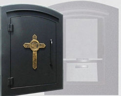 Qualarc, Inc. - Manchester with Security Option, Decorative Cross, Black - Manchester with Security Option, Decorative Cross, Black