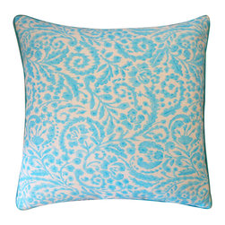 Jiti - Amigo Turquoise Pillow - Jazz up your home decor with our Amigo Turquoise Pillow!  Made from 100% Cotton. Invisible Zipper. DRY CLEAN ONLY. Insert is made of 95% feathers and 5% down.