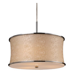 Elk Lighting - Elk Lighting 20025/3 3 Light Pendant Ceiling Fixture from the Fabrique Collectio - Elk Lighting 20025/3 Three Light Pendant from the Fabrique CollectionThe drum pendantfamily offers a vast selection of elegant lighting fixtures that will update any décor. Choose from three sizes and a host of luxurious fabrics. Each drum has chrome plated metal border rings and a translucent diffuser.Features :