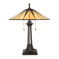 Quoizel Lighting - Quoizel TF6668VB Gotham 2 Light Table Lamp, Vintage Bronze - Long Description: This distinctive style is a great way to bring the drama of Tiffany glass into a contemporary or modern room setting. The hand-cut, iridescent art glass is arranged to form a slender triangle pattern in shades of rich ebony and warm yellow. Simply stunning.