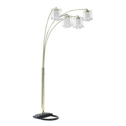 ORE International - 4-Light Arch Floor Lamp with Chandelier-Style Shades - Requires 4 candle-style 40W bulb (bulb not included). UL listed. 4 Arch arms . Dimmer switch. Crystal look shades . Metal base. Made from acrylic and metal. Polished Brass finish. 44 in. L x 44 in. W x 84 in. H (30 lbs.)This lamp creates perfect mood lighting in a corner or behind the sofa. A union of both modern and traditional design elements makes this spirited floor lamp an innovative and style driven addition to any home's decor.