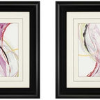 Paragon Decor - Honeysuckle Rose Set of 2 Artwork - Intricate mat cuts highlight this swirling contemporary abstract.