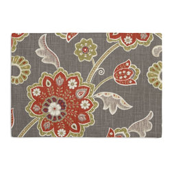 Gray & Orange Stylized Floral Custom Placemat Set - Is your table looking sad and lonely? Give it a boost with at set of Simple Placemats. Customizable in hundreds of fabrics, you're sure to find the perfect set for daily dining or that fancy shindig. We love it in this funky stylized floral with bold bursts of burnt orange & small hints of metallic gold & chartreuse swirling across a cherry red cotton background.
