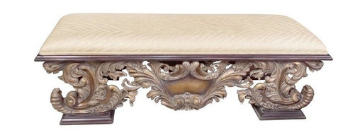 Pre-owned Upholstered Gilded Bench - This lovely Guildmaster bench was purchased from the estate of the late Elizabeth Edwards.  It has had some minor repairs done to it, and it is newly upholstered in a subtle, shimmering gold zebra print.  This bench would grace a hallway, the foot of a bed, a dining room, or near a grand fireplace.  It could even serve as a table between two graceful sofas.