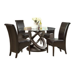 "Monarch Specialties - Monarch Specialties 1749-1776BR 5-Piece Round Dining Room Set in Dark Espresso - Enhance your dining experience with this contemporary 48"" round dining table with a thick tempered, beveled glass top and a unique Olympic ring designed sturdy table base. Ample leg room with a beautiful look for any kitchen or dining room."