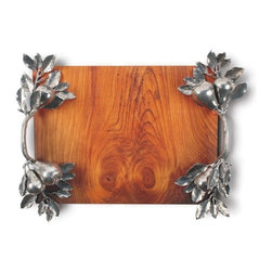 Vagabond House - Pear Branch Serving Tray - Crafted with a food safe, hand-finish, the makha board is beautifully burled in rich tones of amber. The tray is finished with elegant embellishments of 4 intricately detailed cast pewter bouquets of figural pears and leaves joined by pear branch handles.