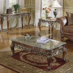Homelegance - Homelegance Barcelona 3-Piece Marble Top Coffee Tables Set - Reed and tie accents with ironstone marble tops all wrapped together in a rich warm cherry finish. This signature table grouping is the perfect accent for the matching fabric or leather upholstery.