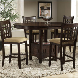 Bernards - Randolph Cherrry Round Pub Table - Rich Cherry Round Pub Table with 18 in.  Leaf. Shown with #5711 bar stool.