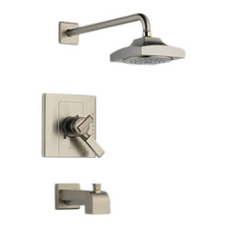 Delta - Delta T17486-SS Arzo Monitor 17 Series Tub and Shower Trim (Stainless) - With its square, modern style and eloquent functionality, the Arzo collection makes a unrivaled and bright addition to any bathroom.