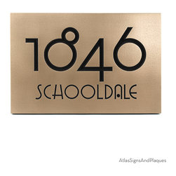 "Grado Gradoo Address Plaque 12.5"" x 8.75 in recessed Bronze - Atlas often names Address Number Plaques after the typeface or font used. Our Grado Gradoo Address Plaque is no exception. Although the font was not designed until 2002, it definitely has the Arts and Crafts and Craftsman look. This is all a bit odd considering that Gradoo has an urban slang definitions including garbage, cruft, smudge, and junk. The Grado Gradoo Address Plaque is the farthest thing from that an will look perfect on your fantastic home."