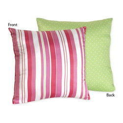 Sweet Jojo Designs - Olivia Stripe and Dot Print Decorative Accent Throw Pillow - The Olivia Stripe and Dot Print Decorative Accent Throw Pillow will help complete the look of your Sweet Jojo Designs room. This adorable accent pillow can be used on a bed, chair or sofa.