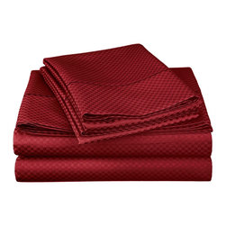 "Cotton Rich 800 Thread Count Microchecker Pillowcase Set - Split King - Burgundy - Dress up your bedroom decor with this luxurious 800 thread count Cotton Rich microchecker sheet set.  These sheets are made of a superior quality blend of 55% Cotton and 45% Polyester making them soft, wrinkle resistant, and easy to care for. Set includes: (2) Fitted Sheet 38""x80"", (1) Flat Sheet 108""x102"", (2) Pillowcases 20""x40"" each."