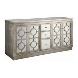 Circles Silver Cabinet - Circles Silver Cabinet Mirrored 3-Drawer/4-Drawer Buffet in Silver Finish
