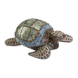 Talulah Carved Wood Mosaic Turtle - This beautiful hand-crafted Talulah Turtle desk accessory has a wood body and glass mosaic design. Lift the shell to store business cards or desktop odds and ends.