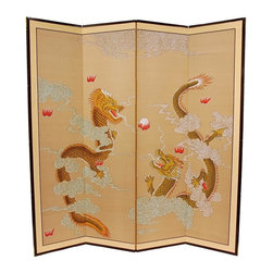 Oriental Unlimted - 6 ft. Tall Dragons Playing Room Divider - Dragons are a powerful positive symbol in the east and the Dragons Playing motif is very finely rendered. Subtle and beautiful hand painted wall art for a fraction of the cost of a comparable print. Large hand painted ink and watercolor silk screen. Song dynasty (10th century China) brush art style. Can be displayed as a privacy screen. Can be folded partly to stand upright on a table or floor. Crafted from silk covered paper, glued over 4 side-by-side lacquered wood frames. Matted with a fine Chinese silk brocade border. Comes with lacquered brass geometric hangers for easy mounting. Note that no 2 renderings are exactly the same. 72 in. W x .63 in. D x 72 in. H