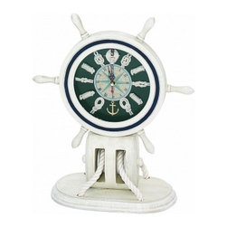 """Handcrafted Model Ships - Wooden Whitewash Ship Wheel Mantel Knot Clock 13"""" - Wood Ship Wheel - This Wooden Whitewash Ship Wheel Mantel Knot Clock 13"""" is the perfect addition to nautical themed bedroom or office. For those looking to spruce up their room, this clock combines many nautical elements and mixes them perfectly into one."""