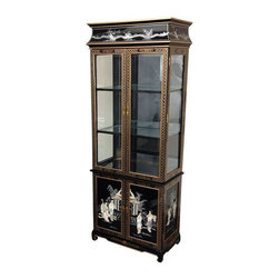 Oriental Furniture - Lacquer Curio Cabinet - Black Mother of Pearl Ladies - Handmade by local artisans in Guangzhou, this cabinet is a truly outstanding place to display a prized collection of porcelain, fine crystal, or objects d'art. The authentic Ming design displays an elegant twelve coat black lacquer finish inside and out, with a delicately carved mother of pearl applique and hand painted details. Adjustable glass shelves with lacquered frames allow the light in the top to shine down through the cabinet, and the mirrored back and clear glass sides offer an unobstructed view of your collection.