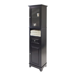Winsome - Winsome Alps Tall Cabinet with Glass Door and Drawer in Black Finish - Winsome - Storage Cabinets - 20871 - Alps Cabinet is a perfect additional to your kitchen or dining room.  Plenty of storage space with top section feature glass door opens one adjustable shelf to show your china.
