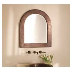 """KCK Bathroom Mirrors & Accessories - Large Milano Mirror In Antique - Boasting a soft, contemporary style, Milanos sleek lines are striking, to say the least. Make it your own by presenting it in either the horizontal or vertical perspective. Hand hammered copper. Beveled glass. Recycled copper. 36"""" W x 60"""" D"""