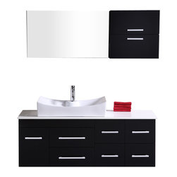 "Design Element - Single Sink Vanity Set - Design Element Dec1101 Springfield 53"" Espresso Finish Single Sink Vanity Set"