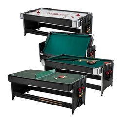 Fat Cat - Fat Cat 7 ft. Black Pockey Table - Billiard Air Hockey & Table Tennis - 64-1046 - Shop for Multi and Other Game Tables from Hayneedle.com! The Fat Cat 7 ft. Black Pockey Table - Billiard Air Hockey & Table Tennis is a fun versatile game table. With one purchase you can enjoy three entirely different activities depending on your mood: Air Hockey Pool and Table Tennis. A great choice for gamers with more than one favorite past-time! Billiards: Play field: 70L x 34W inches Non-slate playing surface features nylon cloth rubber bumpers and drop pockets Air Hockey: Play field: 74L x 38W inches Manual scoring system Glossy white playing surface resembles a hockey rink Table tennis top dimensions: 84L x 42W x .25H inches Tabletop: trifold for easy storage Additional features: Two 57-inch pool cues complete set of 2.25-inch billiard balls Plastic triangle 2 pieces of chalk 1 billiard brush 2 ping pong paddles net and balls 4 goalies and 4 pucks About GLD ProductsGLD Products has been manufacturing and distributing well-known family gaming products for over 30 years and is proud to be America's leading innovator of darts billiards table games and home casino products. GLD is located in Muskego Wis.