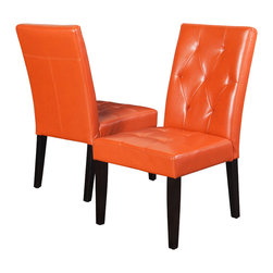 Great Deal Furniture - Dacey Fabric Dining Chair (Set of 2), Orange Leather - The Dacey dining chair provides comfort and elegance to any room. This piece is upholstered in rich fabric and features a well-padded tufted seat and backrest for added style and stands on espresso stained wooden legs. Its wide seat makes this chair roomy enough to use as an accent chair.