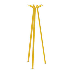 Coat Rack, Yellow - With the influx of guests you likely have during winter, better add one of these to your foyer to supplement your already-busting-at-the-seams coat closet. Then, come summer when you're ready to retire the coat rack, you can store it in a safe, dry place and bring it out when you need a brush of sunshine again.