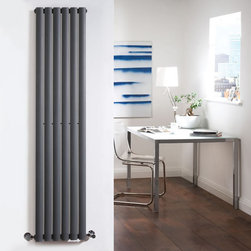 Hudson Reed - Anthracite Tall Vertical Designer Radiator Heater 70 x 14 & Valves - With an impressive heat output of 1,120 Watts (3,823 BTUs), this designer radiator, in a fashionable anthracite finish (RAL7016), is stylish and highly efficient, ensuring that your room is heated quickly.This luxury radiator is designed especially for use in any room, looking equally stylish in a modern or traditional setting; its six anthracite vertical columns bring a touch of elegance to any living space. This modern version of the traditional cast-iron radiator is also highly functional, connecting directly into your domestic central heating system via the radiator valves included (please choose angled or straight). This radiator comes complete with a 5 YEAR GUARANTEE.Luxury Anthracite Vertical Designer Radiator 63 x 14 Details  Dimensions: (H x W x D) 70 x 14 x 4(1780mm x 354mm x 105mm) Output: 1,120 Watts (3,823 BTUs) Pipe centres with valves: 17(430mm) Wall to centre of tapping: 2.5 (65mm) Number of columns: 6 Oval crossbars Designed to be plumbed into your central heating system Suitable for bathroom, cloakroom, kitchen etc. Please note: radiator valves are included (please choose angled or straight valves)  Buy now, to transform your living space, at an affordable price.5 year guarantee Please Note: Our radiators are designed for forced circulation closed loop systems only. They are not compatible with open loop, gravity hot water or steam systems.