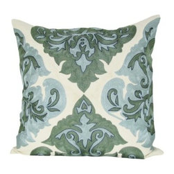 Design Accents Arabic Damask Pillow - Green - You're not green when it comes to design knowledge, that's why you'll love the Design Accents Arabic Damask Pillow - Green. It's crafted of high-quality cotton to ensure durable, long lasting beauty. The chain-stitch design is inspired from the classic damask pattern yet distinctively modern. It's filled with vibrant, warm colors that will make a statement on your bed, sofa, or chair.
